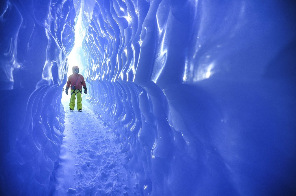 A White Desert guest explores an ice tunnel. Source: White Desert