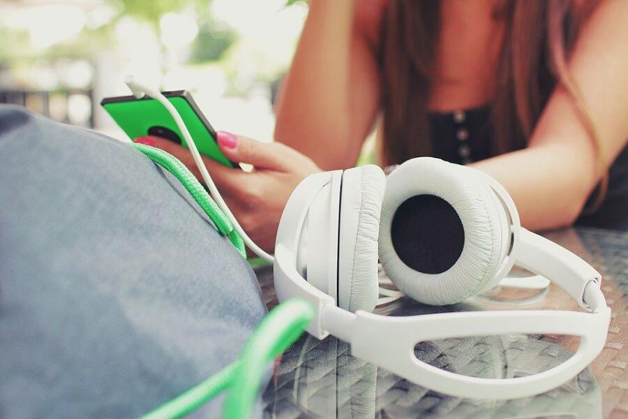 Girl with luxury headphones