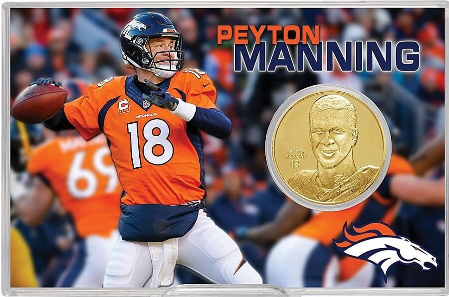 Coin collection with Peyton Manning Mint Broncos Peyton Manning