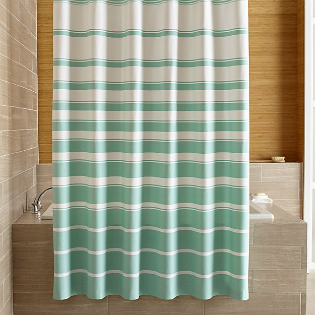 Crate & Barrel Hampton Stripe Seafoam Shower Curtain