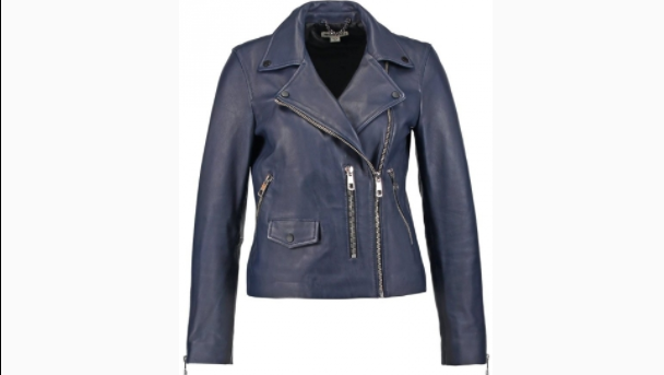 WHISTLES AGNES LEATHER JACKET NAVY