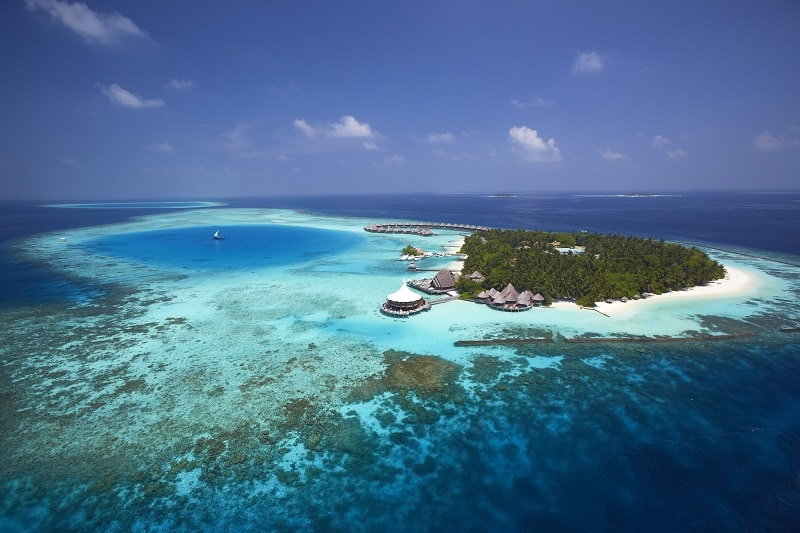 Aerial view over one of the Maldives Resorts
