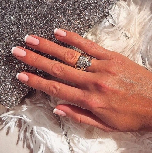 french manicure pretty hand and wedding ring