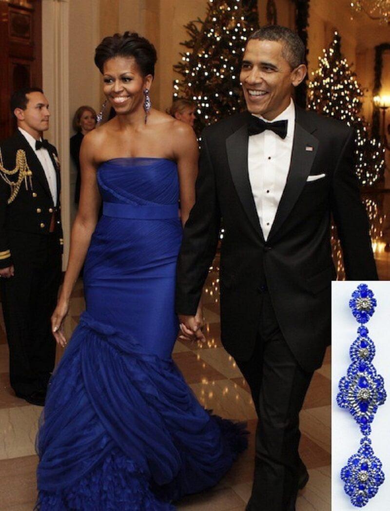Michelle Obama wearing Miguel Ases Swarovski Earrings
