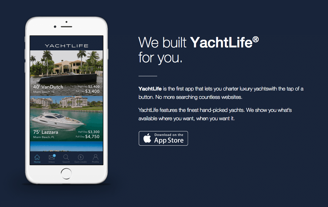 app for chartering yachts