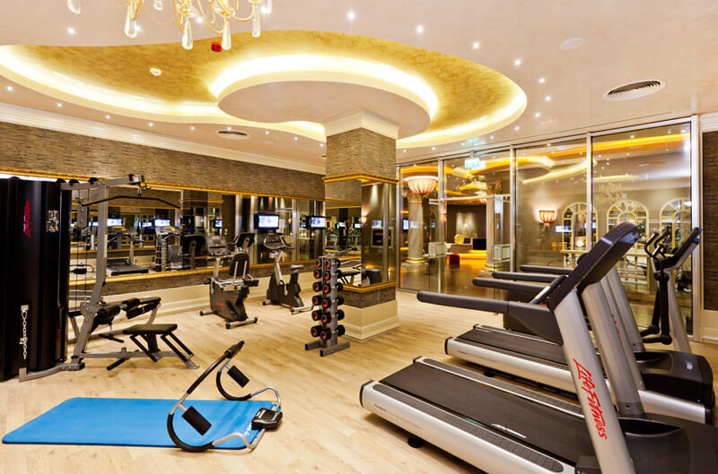 the interior of a luxury gym
