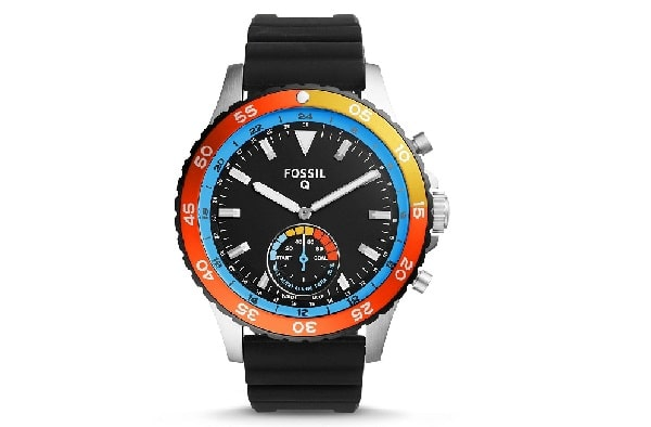 The Fossil Q Crewmaster Silicone-Strap Hybrid Smart Watch