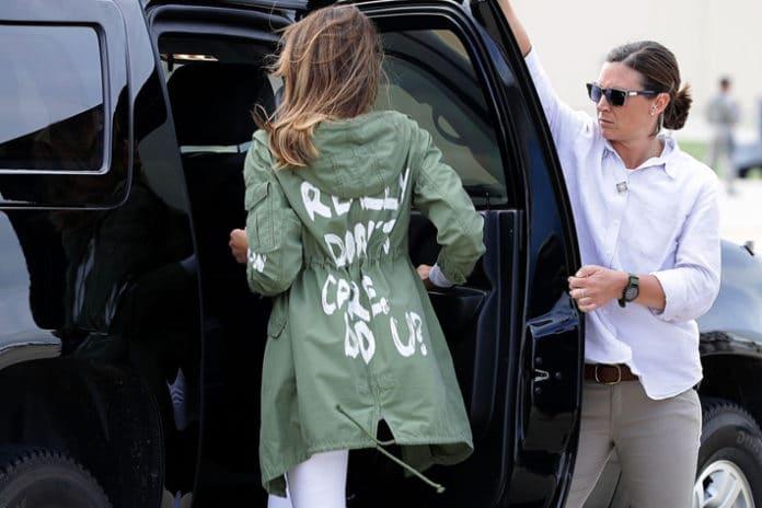 'I Really Don't Care' Jacket, Melania Trump, Donald Trump, Melania Trump jacket, I really don't care, I really don't care jacket, I really do care, Melania Trump's jacket, jacket controversy, immigration, immigration reform, Trump, Trump immigration, Melania immigration, Stephanie Grisham, Melania Trump political statement, Melania jacket