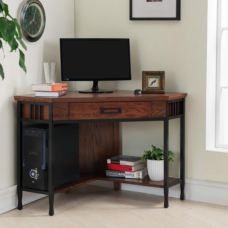 Leick Corner Computer And Writing Desk Oak